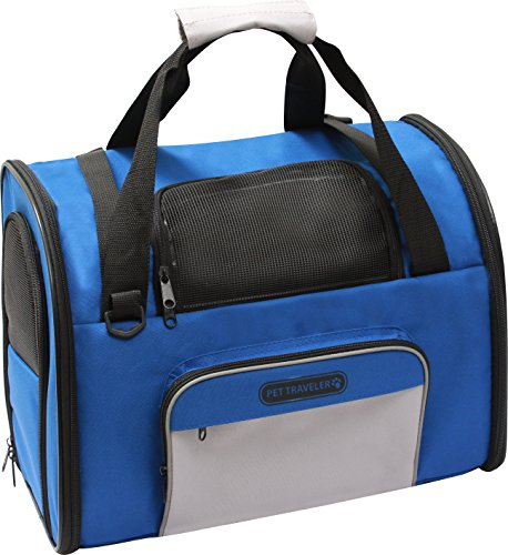 The Pet Traveler Greatest Carrier for Pets (Up to 15 Lbs/6 Kg). It Is the Limousine of Pet Transport, Providing a Level of Luxury That Will Have Your Pet Begging to Travel with You,(blue)