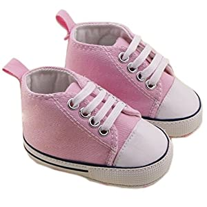 Zapatos de bebé con diseño suave fondo antideslizante para los niños del bebé (rosa, 14 cm longitud interior, 12-18 meses) en BebeHogar.com