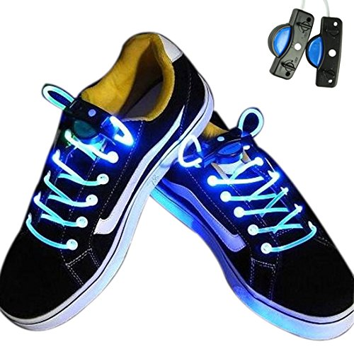 Voberry® Newest Hot Sale Fashion Led Light Up Flashing Shoelaces Necklaces Eyes-Catching Suitable For Parties, Hip-Hop, Dancing, Night Jogging(Blue)