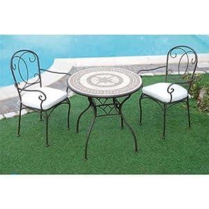 Tavolo in ferro battuto da giardino con mosaico in pietra for Offerte giardino