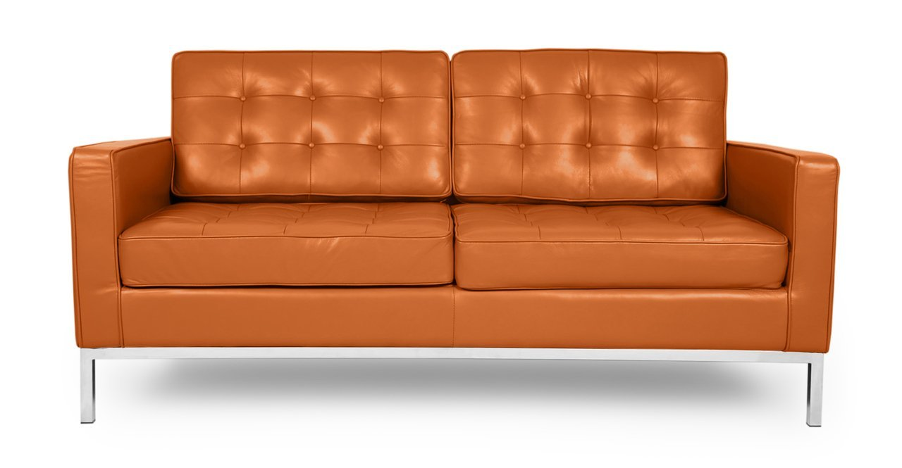 Kardiel Florence Knoll Style Loveseat - Caramel Aniline Leather