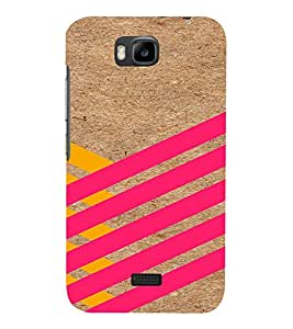 PrintVisa Yellow And Pink Stripes 3D Hard Polycarbonate Designer Back Case Cover for Huawei Honor Bee
