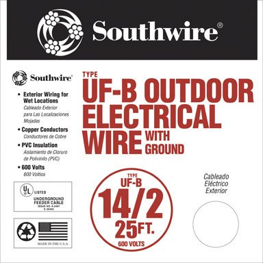 SouthWire Company 13054221 14/2 WG UF Wire 25-Foot