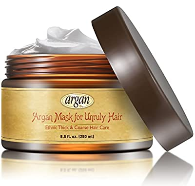 Unruly Hair Mask Deep Conditioner - Extra Thick Coarse Ethnic Hair Care - Moroccan Argan Mask 8.5 oz - Long Lasting Conditioning for Dry Damaged Hair & Scalp