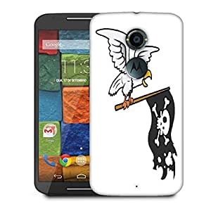 Snoogg Eagle Holding Pirate Flag Vector Cartoon Illustration Designer Protective Phone Back Case Cover For Moto X 2nd Generation