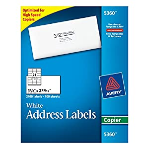 AVERY Copier Label, Mailing, 1-1/2 x 2-13/16 Inches, 2100 per Box, White (AVE5360)