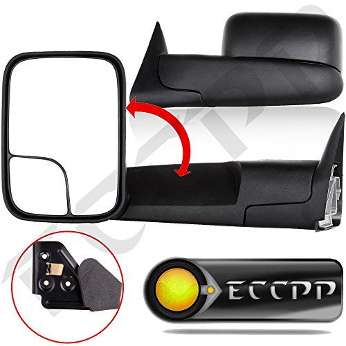 ECCPP Black Manual adjusted Side View Mirror Tow Towing Mirrors Left & Right Pair Set for 94-01 Dodge Ram 1500, 94-02 Ram 2500 3500 Truck (Tow Mirrors For 01 Dodge 2500 compare prices)