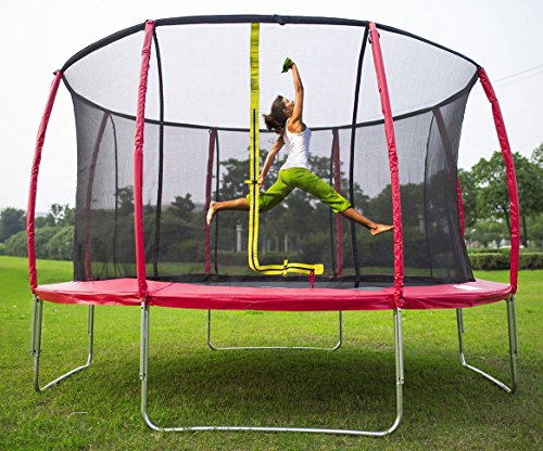 Merax-14-Feet-Round-Trampoline-with-Safety-Enclosure-Set-Red