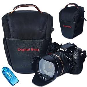 First2savvv Black Digital SLR Camera Bag Holster Case for OLYMPUS C-700 Ultrazoom with card reader