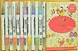 呉竹 ZIGクリーンカラー リアルブラッシュ 12色 & ぬりえポストカードパッド セット (Love-set)