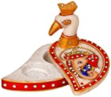 Little India Kundan Work Marble Peacock Roli Sindoor Vase  (10.16 cm x 7.62 cm,HCF279)