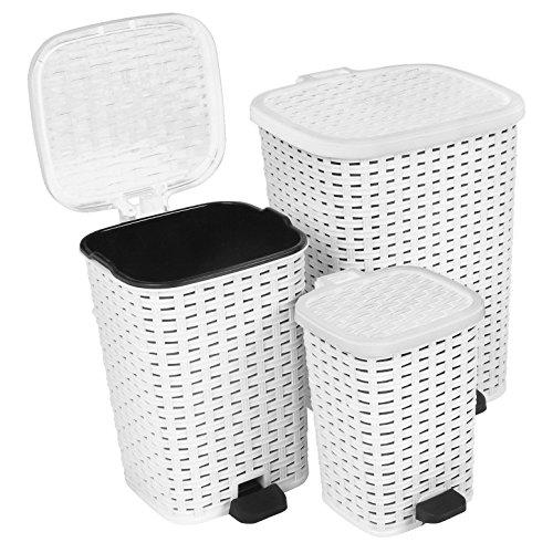 Rattan (Wicker Style) Trash Can - 3 Size Set - 1.6 Gal. / 3.1 Gal. / 6.8 Gal. (White) (Wicker Style Trash Can compare prices)