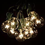 100 Foot Globe Patio String Lights - Set of 100 G40 Clear Bulbs with Green Cord