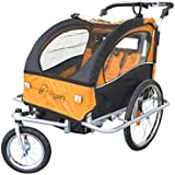 Booyah Double Baby Child Bicycle Bike Trailer & Jogger Green
