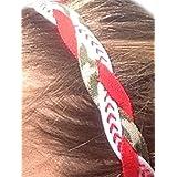 It S Ridic No Slip Grip Non-Slip Sports Athletic Nylon Triple Braided Sports Headband Red | White With Red Seam... - B01DPW5UPY