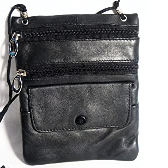 Leather Travel Neck Pouch Holder Passport Id Wallet Black Security Bag Pocket !!