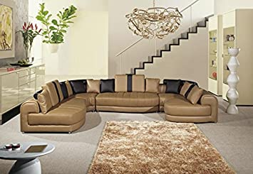 5pc Modern Contemporary Sectional Leather Sofa Set - AK-L408-CA