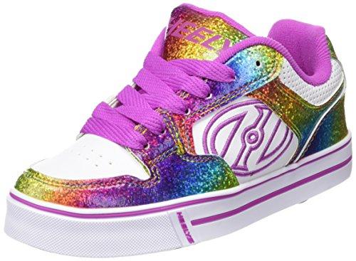 Heelys Motion Plus Skate Shoe (Little Kid/Big Kid), White/Rainbow/Hot Pink, 6 M US Big Kid (Wheelies Shoes compare prices)