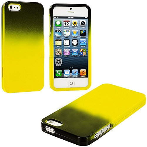 Mylife (Tm) Yellow + Black Two Tone Series (2 Piece Snap On) Hardshell Plates Case For The Iphone 5/5S (5G) 5Th Generation Touch Phone (Clip Fitted Front And Back Solid Cover Case + Rubberized Tough Armor Skin + Lifetime Warranty + Sealed Inside Mylife Au