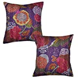 Handmade Ethnic Kantha Work Cotton Cushion Cover 16 X 16 Inches Set Of 2 Pcs