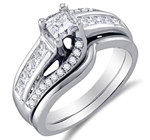 Size 9 - 14K White Gold Large Diamond Cross Over Ladies Bridal Engagement Ring with Matching Curved Notched Wedding Band Two 2 Ring Set - Solitaire Setting w/ Channel Invisible Set Princess Cut & Round Diamonds (1.00 cttw, 2/5 ct Center)