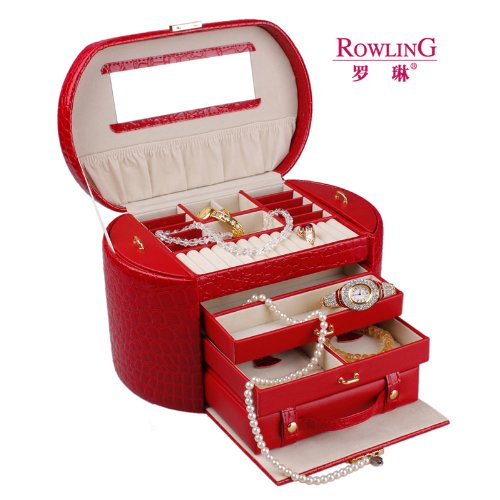 Rowling Red Faux Leather Jewellery/Watch box Jewelry Storage Display Case ZG152