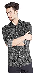 PARX Men's Casual Shirt (8907253848422_XMSS05541-W2_39_White and Black)