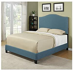 Modern turquoise arch upholstered padded queen for Turquoise bed frame