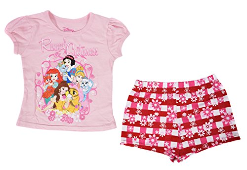 Disney Toddler Girls Princesses Mickey Minnie Mouse Tee and Shorts Set (Pink, 2T)