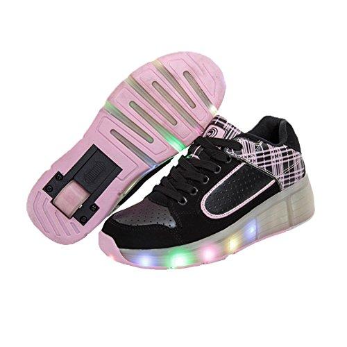 KE Unisex LED-Licht Heelys Rädern Auto-Absatz Pulley Schuhe Skates Sports Night Laufschuhe (CN38=24cm, Pink)