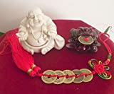 Feng Shui Wealth Enhancer Kit includes Ivory White Laughing Buddhadesigns vary 5 Stringed Chinese Coins Wealth Enhancer with Tassel Dark Red Resin Money Frog Comes with Placement Instructions