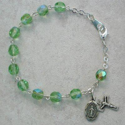 Sterling Silver Youth Girls Rosary Bracelet Peridot August Birthstone.