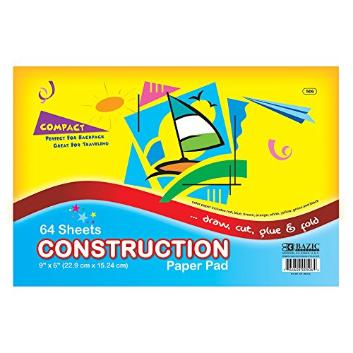 "BAZIC 64 Ct. 6"" X 9"" Mini Construction Paper Pad - 1"