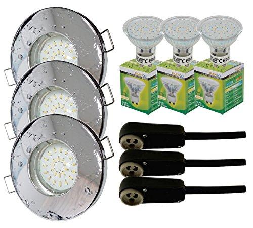 Trango-3er-Set-IP44-Einbaustrahler-fr-Bad-Dusche-Sauna-inkl-3x-GU10-30-Watt-LED-Leuchtmittel-3000K-warm-wei-Chrom-TG6729IP-038B