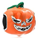 Charmed Craft Halloween Pumpkin Charms Enamel Charms Beads for Snake Chain Bracelets (style 1)