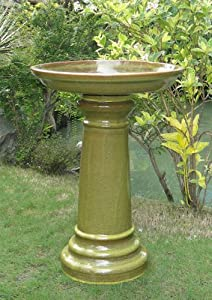 Smart Solar 207104-SG 17-Inch by 24-Inch Sierra Garden  Aviatra Ceramic Birdbath