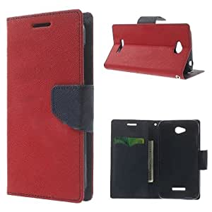Acm Wallet Diary Flip Case For Htc Desire 616 Mobile Multi-Color Cover-Red With Dark Blue Inside