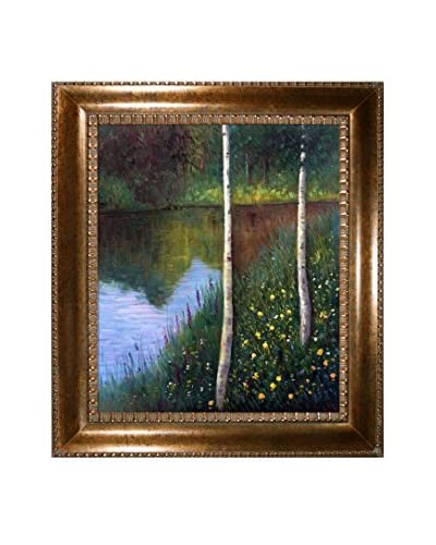 Gustav Klimt's Landscape With Birch Trees Framed Hand Painted Oil Canvas, Multi, 32″ x 28″