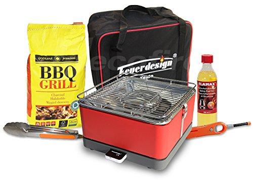 Rauchfreier Holzkohle Tischgrill TEIDE v. Feuerdesign – Rot, im Super Pack mit viel Grill-Zubehör online kaufen