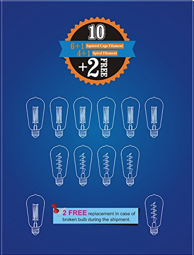 12 Pack - 60W - ST64 - E26 - 7 Squirrel Cage and 5 Spiral - dimmable - Vintage Edison Light Bulbs - Clear Glass - industrial vintage style - Youngever Home - 2 FREE 3