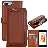 【LongRise】iphone7 Plus ケース 手帳型、アイフォン7プラス 用 スマホカバー 財布一体型 携帯ケース 取り外し自由 多機能 小銭入れ (ブラウン)