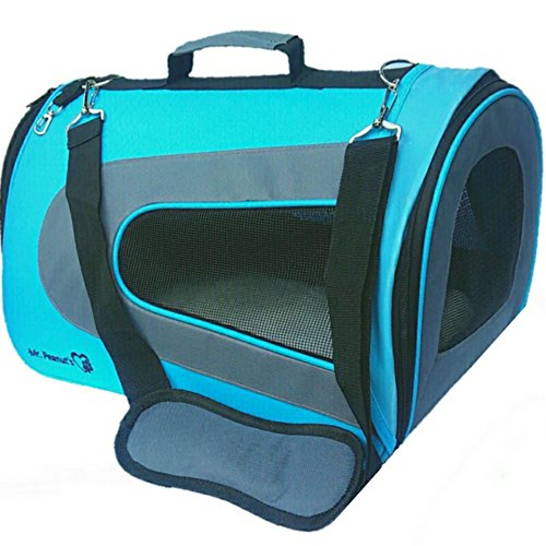 Mr. Peanut's Airline Approved Soft Sided Pet Carrier, Two-Tone Luxury Travel Tote with Fleece Bedding & Safety Lock, Under Seat Compatability, Perfect for Cats and Small Dogs (Deja Blue)