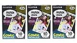 Comic version instax mini films for Fuji instant mini cameras set of 3 packs x 30 photos