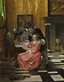 High Quality Polyster Canvas ,the Replica Art DecorativeCanvas Prints Of Oil Painting 'Ludolf De Jongh - An Interior, With A Woman Refusing A Glass Of Wine,probably 1660-5', 10x13 Inch / 25x32 Cm Is Best For Nursery Gallery Art And Home Decoration And Gifts