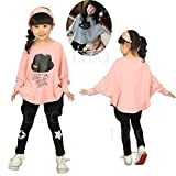 Gaorui Niñas Camiseta Manga Larga Murciélago Traje Princesa Vestido Ropa Casual Rosa 7 años