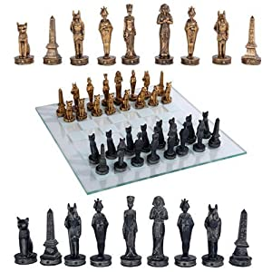 "Ancient Egyptian God Kingdom Civil War Chess Set with Glass Board 17"" x 17"" -33PCS [Gold & Black] [Obelisk, Anubis, Bastet, King Tut, Nefertiti, Osiris]"