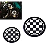VCiiC (2) 73mm Black/White Checkered Checkerboard Pattern Soft Silicone Cup Holder Coasters For MINI Cooper R55 R56 R57 R58 R59 Front Cup Holders (Color: White)