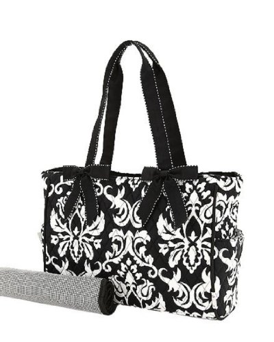 Belvah Quilted Damask 2pc. Diaper Tote Bag/ Baby Shower Gift Bag - 1
