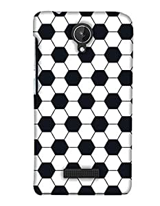 PrintHaat Designer Back Case Cover for Micromax Canvas Spark Q380 (football lover :: soccer player :: football in the ground :: football in the net :: football illusion :: in blue, black, green, white and brown)