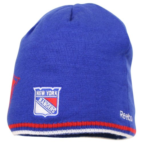 Reebok NHL Reversible 3 Logo Knit Hat / Beanie - New York Rangers (navy) at Amazon.com